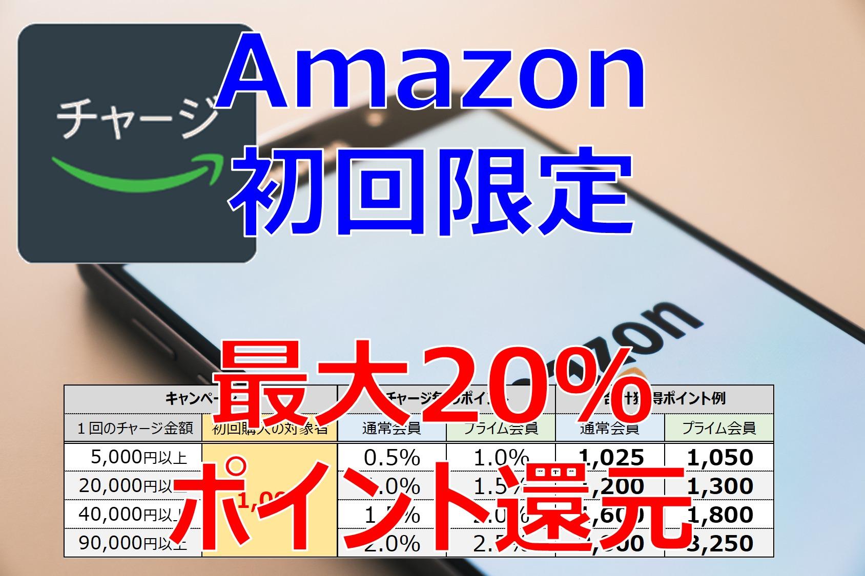 還元率20%! Amazonギフト券の初回チャージで1000円分のポイントをお得にゲットするキャンペーン
