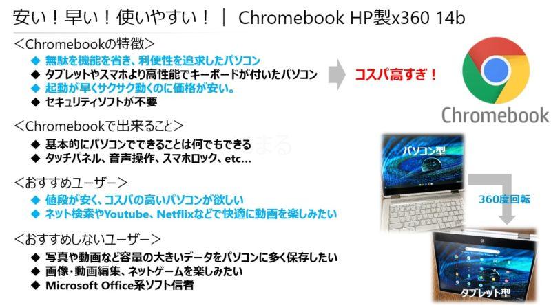 安い!早い!使いやすい!Chromebook(クロームブック)HP社のx360 14b
