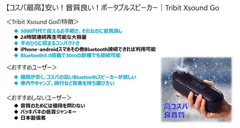 【コスパ最高】安い!音質良い!ポータブルスピーカー Tribit XSound Go